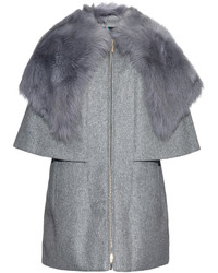 Moncler Darla Shearling Collared Wool Blend Coat