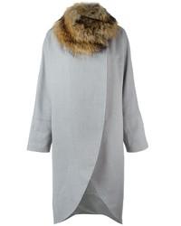 Eleventy Fur Collar Belted Coat