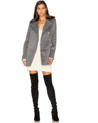Capulet Emmy Double Breasted Coat With Faux Fur Collar In Gray