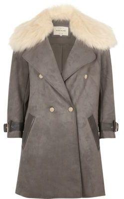River Island Grey Faux Fur Collar Coat