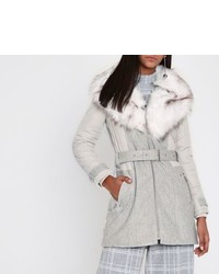 River Island Grey Padded Wool Belted Faux Fur Collar Coat
