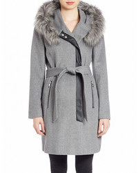 Karl Lagerfeld Paris Faux Fur Trimmed Wool Blend Coat
