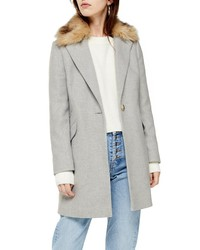 Topshop Monica Faux Fur Collar Coat