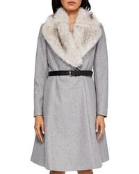 Ted Baker Narniaa Faux Fur Collar Belted Coat