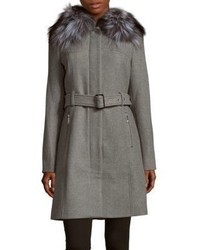 Michael Kors Natural Fox Fur Collar Long Coat