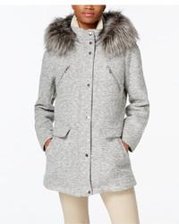 Nautica Faux Fur Trim Snap Front Coat