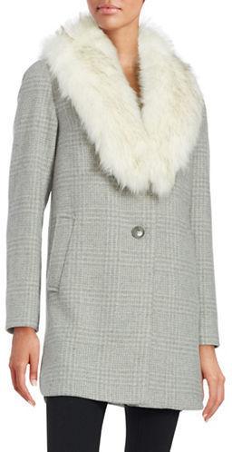 Grauer fake fur mantel