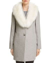T Tahari Olivia Faux Fur Trim Coat