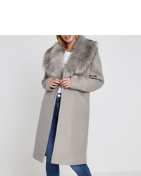 River Island Petite Grey Faux Fur Collar Coat