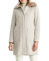 Lauren Ralph Lauren Petite Wool Blend Coat With Faux Fur Collar