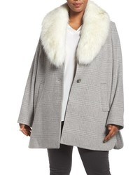 Tahari Plus Size Olivia Plaid Coat With Removable Faux Fur Collar