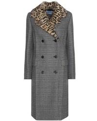 Prada Virgin Wool Blend Coat With Fur Collar