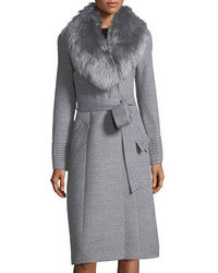 Sentaler baby alpaca belted long coat w fur collar medium 6860487