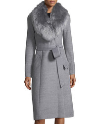 Sentaler Belted Long Coat W Fur Collar