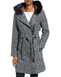 Steve Madden Asymmetrical Hooded Coat With Faux Fur Trim