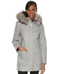 Towne By London Fog Faux Fur Hooded Wool Blend Coat