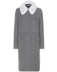 Miu Miu Virgin Wool And Angora Coat With Detachable Mink Fur Collar