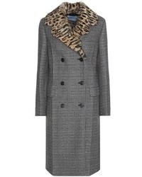Prada Virgin Wool Blend Coat With Fur Collar