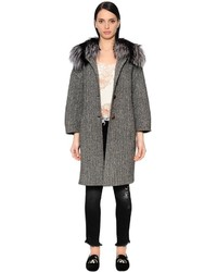 Ermanno Scervino Wool Herringbone Coat W Fox Fur Collar
