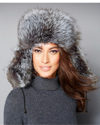 The Fur Vault Black Silver Fox Fur Trapper Hat
