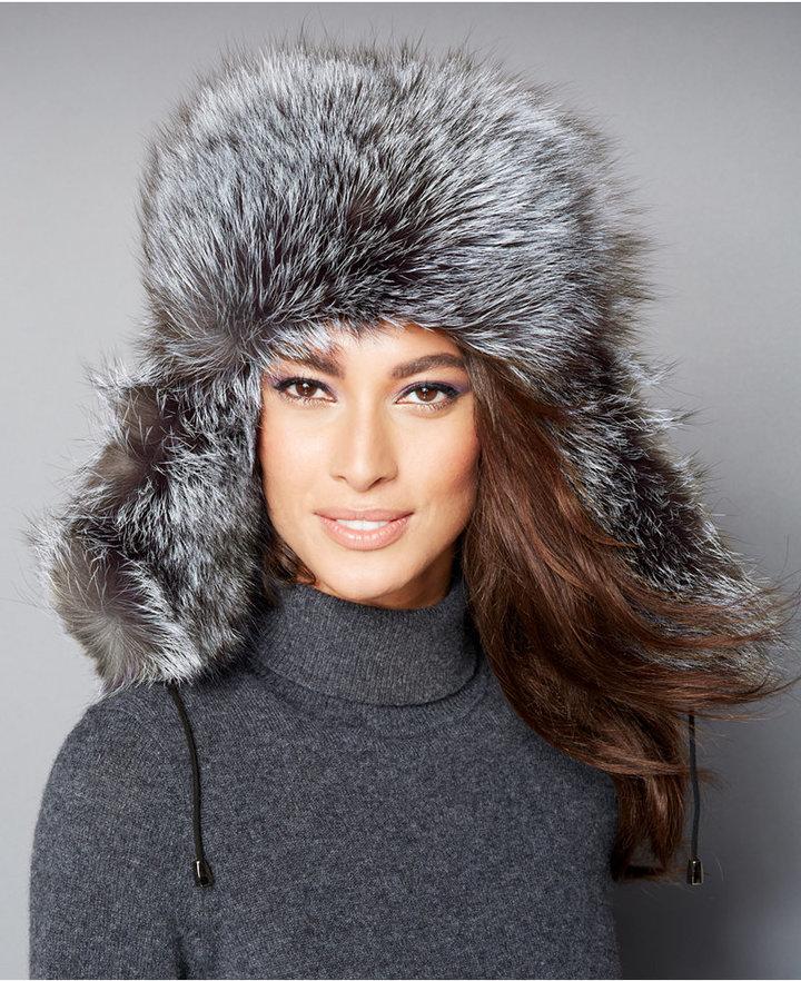 f0874a653ad ... The Fur Vault Black Silver Fox Fur Trapper Hat ...