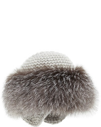 Inverni Cashmere Knit Hat With Fox Fur Brim Gray