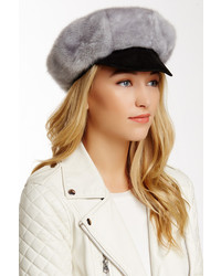 Surell Faux Fur Newsboy Hat