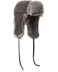 Hat Attack Fur Lined Knit Trapper Hat Graynatural