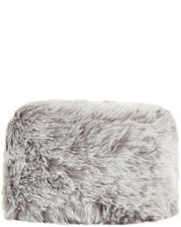 Topshop Grey Glossy Faux Fur Cossack Hat 82% Acrylic 18% Polyester