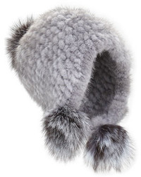 Jocelyn Knitted Mink Fur Hat Wpom Poms