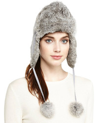 Adrienne Landau Rabbit Furnylon Trapper Hat Light Gray