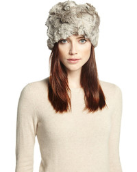 Adrienne Landau Textured Rabbit Fur Hat Gray