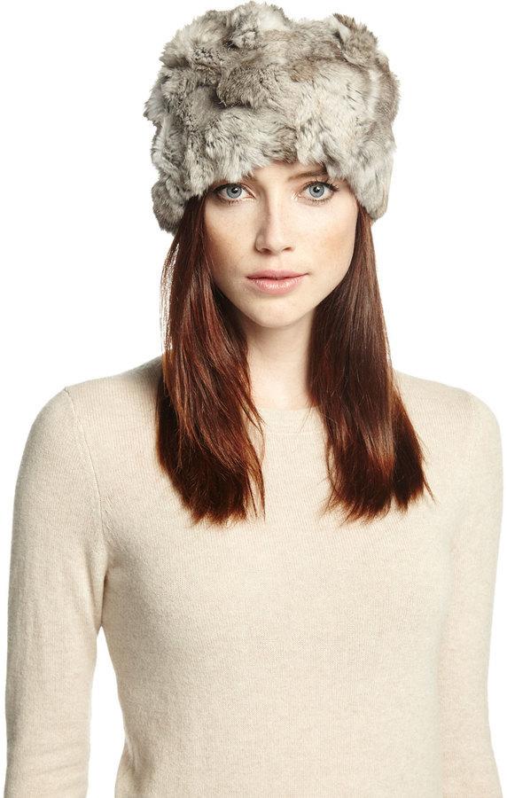 Textured Rabbit Fur Hat Gray. Grey Fur Hat by Adrienne Landau 153b1f9078d