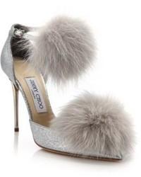 Dolly 100 fox fur glittered textile ankle strap pumps medium 436269