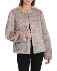Badgley Mischka Collarless Faux Fur Jacket