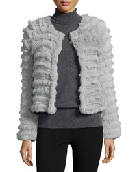 Cusp By Neiman Marcus Long Sleeve Rabbit Fur Jacket Silver Gray