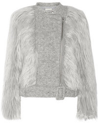 Band Of Outsiders Faux Fur And Wool Blend Biker Jacket