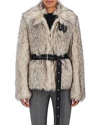 Helmut Lang Faux Fur Belted Jacket