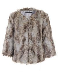 Little Mistress Grey Cropped Faux Fur Jacket
