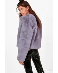 Boohoo Hailey Boutique Crop Faux Fur Coat