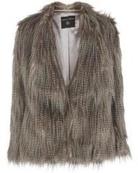 Long Haired Grey Faux Fur Coat