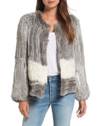 Love token colorblock genuine rabbit fur jacket medium 6458556