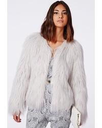 Missguided Cassie Shaggy Faux Fur Coat Grey
