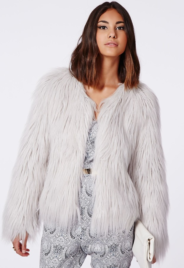 Missguided Cassie Shaggy Faux Fur Coat Grey | Where to buy & how ...