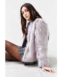 Silence & Noise Silence Noise Faux Fur Zip Up Jacket