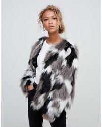 New Look Tonal Faux Fur Collarless Coat Pattern