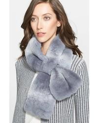 St. John Collection Stripe Genuine Rabbit Fur Muffler
