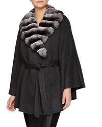 Sofia Cashmere Fur Collar Belted Cashmere Cape Gray
