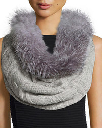 Sofia Cashmere Fur Trim Cashmere Cable Knit Snood Gray