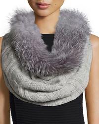 Fur Trim Cashmere Cable Knit Snood Gray